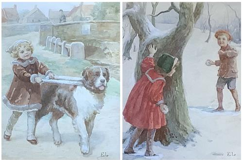 Eveline Lance Pair Watercolours 'Gee-Up '&'Christmas Time' (1 of 5)