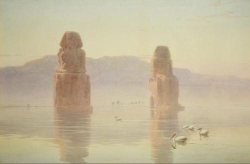 Robert Talbot Kelly Watercolour 'the Colossi of Thebes, Egypt' (1 of 5)