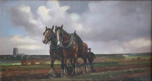 Geoffery Mortimer Oil Painting 'the plough team' (1 of 3)