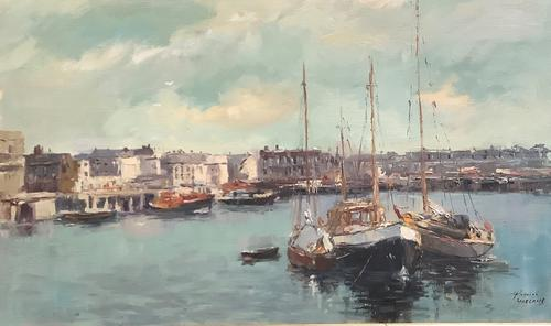 Phyllis Morgans Oil Painting 'the Harbour, Lowestoft' (1 of 2)