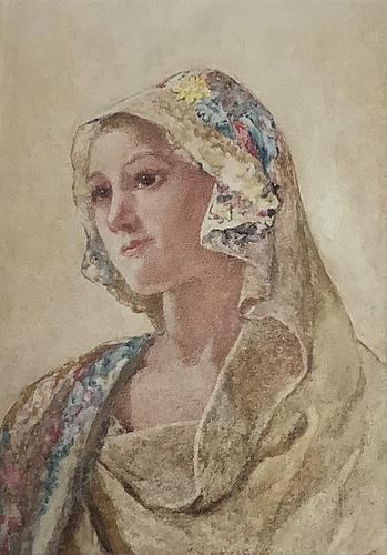 David Woodlock Watercolour 'Lady in a Headscarf' (1 of 2)
