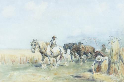 Nathaniel Hughes John Baird Watercolour 'Harvest Time' (1 of 2)