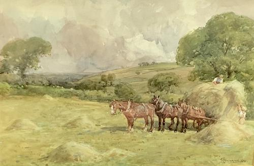 John Atkinson Watercolour 'Harvest Time' (1 of 2)