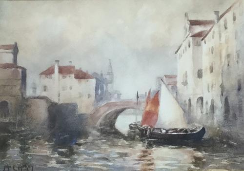 John Ernest  Aitken  Watercolour ' Showery Weather Chioggia' (1 of 3)