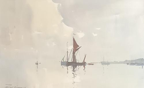 Edward Wesson Watercolour 'Boats in a Coastal Landscape' (1 of 3)