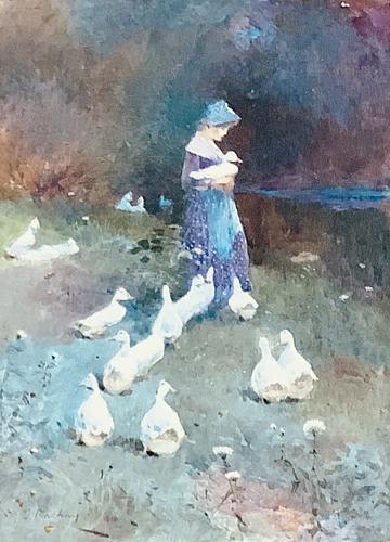 Thomas Mackay Watercolour ' the Goose Girl' (1 of 2)