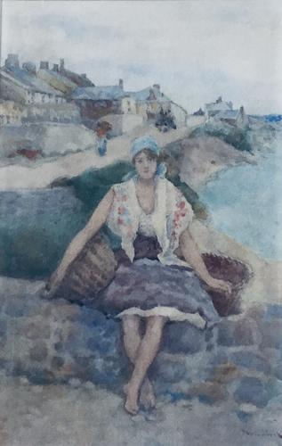 David Woodlock Watercolour 'Waiting For the Boats ,Staithes,Yorkshire' (1 of 3)