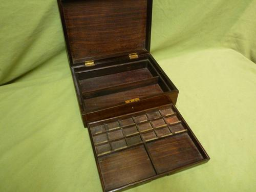 Solid Rosewood Artist Paint Box c.1880 (1 of 13)