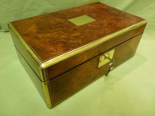 Brass Bound Burr Writing Box. Secret Drawers + More. C1870 (1 of 13)