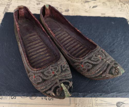 Antique Persian Slippers, 19th Century Shoes (1 of 9)