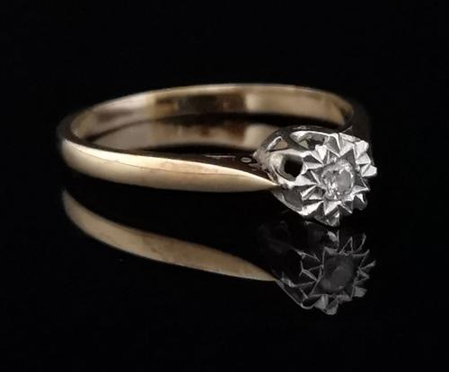Vintage 9ct Gold Diamond Solitaire Ring (1 of 10)