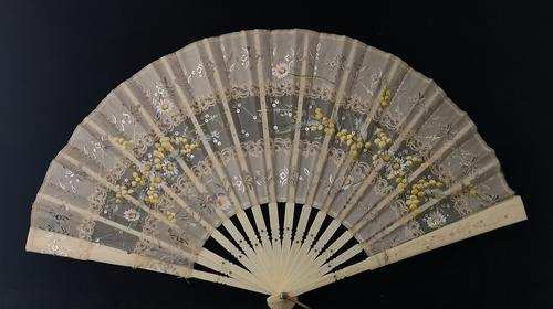 Antique Victorian Bone Hand Fan, Hand Painted (1 of 12)