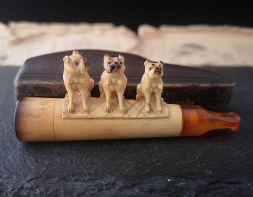 Antique Meerschaum & Amber Cigar Holder, Pug Dogs, Georg Koppa (1 of 11)
