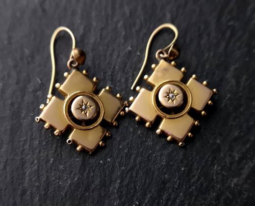Antique Victorian Diamond Earrings, 9ct Gold (1 of 9)