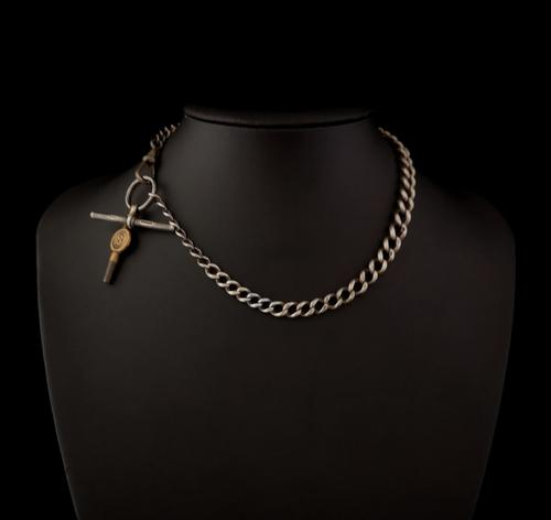 Antique Silver Albert Chain, Watch Chain (1 of 11)