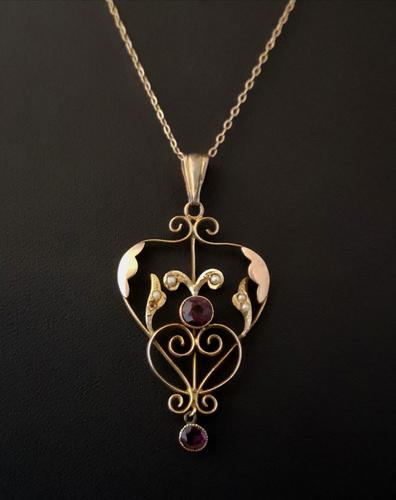 Antique Lavalier Pendant, Art Nouveau, 9ct Gold, Amethyst & Seed Pearl (1 of 11)