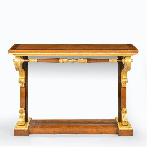 Striking George IV Amboyna, Rosewood & Gilt Console Table attributed to Morel & Seddon (1 of 12)