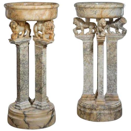 Magnificent Pair of Italian Alabaster Jardinieres C.1900 (1 of 3)