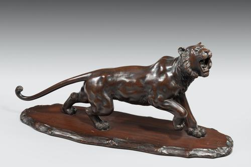 Meiji Period Carved Wooden Tiger (1 of 4)