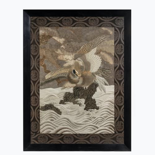 Large Meiji Period Silk Embroidery of a Sea Eagle (1 of 8)