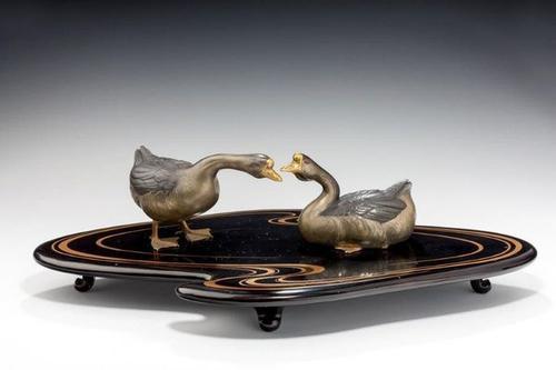 Showa Period Okimono of Two Geese (1 of 7)