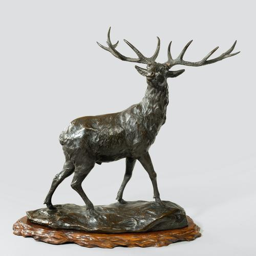 A Magnificent Bronze Stag by Genryusai Seiya (1 of 5)