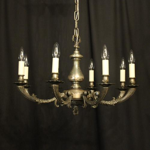 French Silver Plated 8 Light Antique Chandelier (1 of 10)