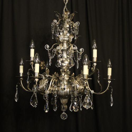 Italian Silver & Crystal Genoa 9 Light Chandelier (1 of 10)