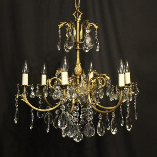 French Bronze & Crystal 6 Light Chandelier (1 of 10)