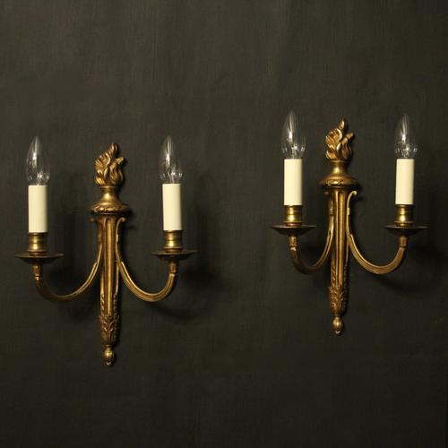 French Gilded Brass Twin Arm Antique Lights (1 of 10)