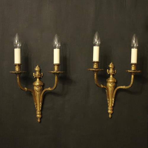 French Twin Arm Gilded Brass Antique Lights (1 of 10)