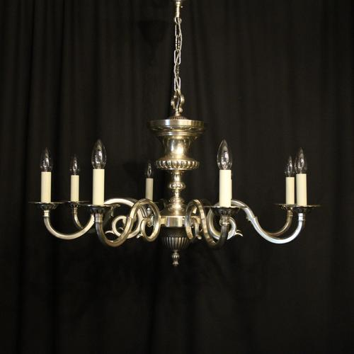 English Silver Plated 8 Light Antique Chandelier (1 of 10)
