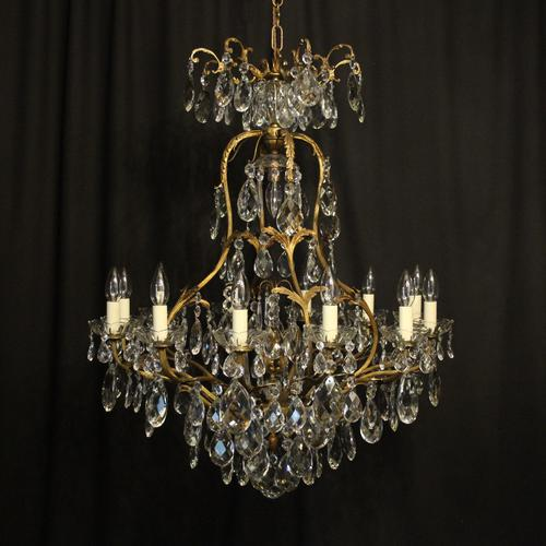 French Gilded Bronze Crystal Antique Chandelier (1 of 10)
