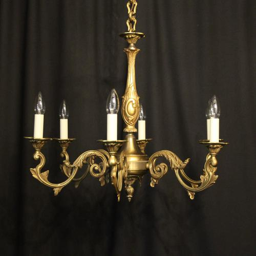 French Gilded Bronze 6 Light Chandelier c.1930 (1 of 10)