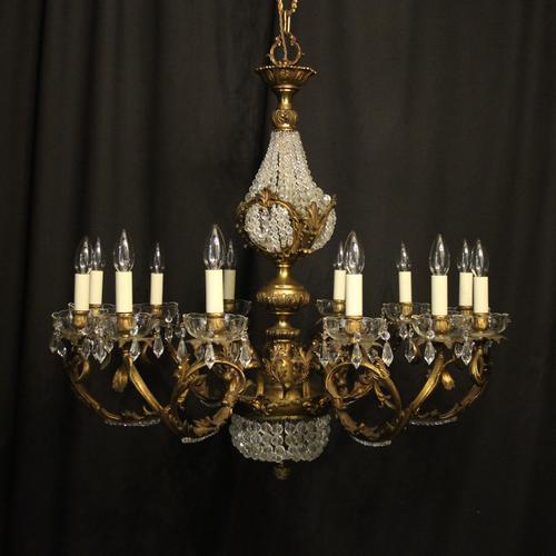 Italian 12 Light Gilded Bronze Antique Chandelier (1 of 10)