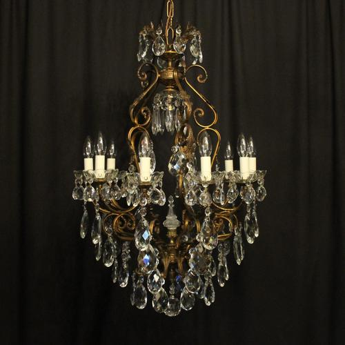 Italian Gilded & Crystal Bird Cage Antique Chandelier (1 of 10)