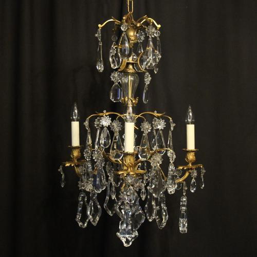 French Triple Light Bronze Antique Chandelier (1 of 10)