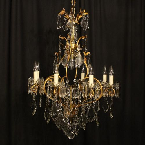 French Gilded 9 Light Antique Chandelier (1 of 15)