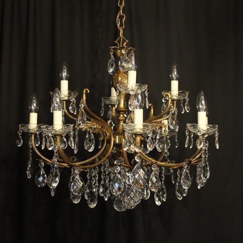 Italian Gilded 12 Light Antique Chandelier (1 of 10)