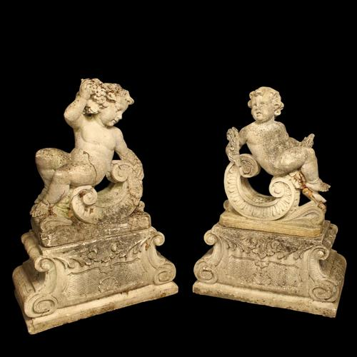 French Pair of Composition Reclining Cherubs (1 of 9)