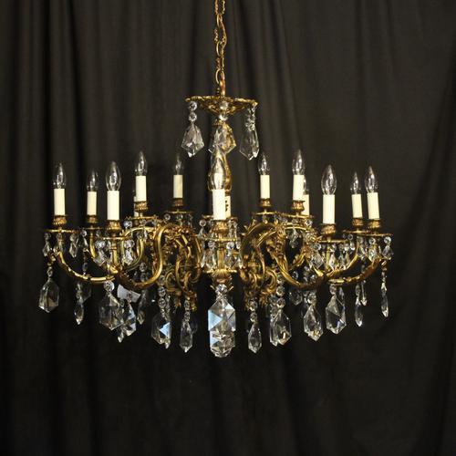 Italian Gilded & Crystal 15 Light Antique Chandelier (1 of 10)