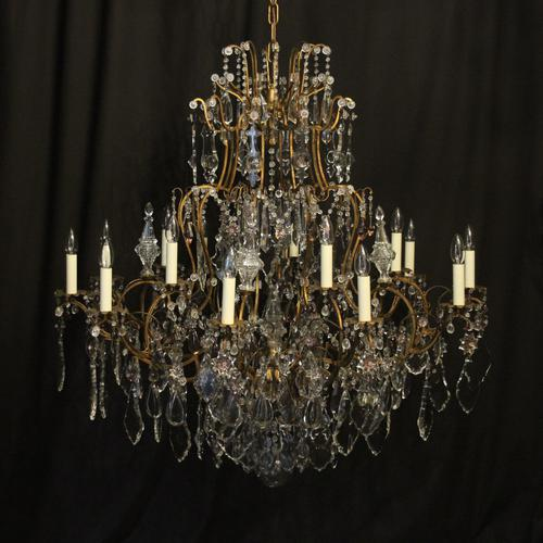 French Gilded & Crystal 15 Light Antique Chandelier (1 of 11)