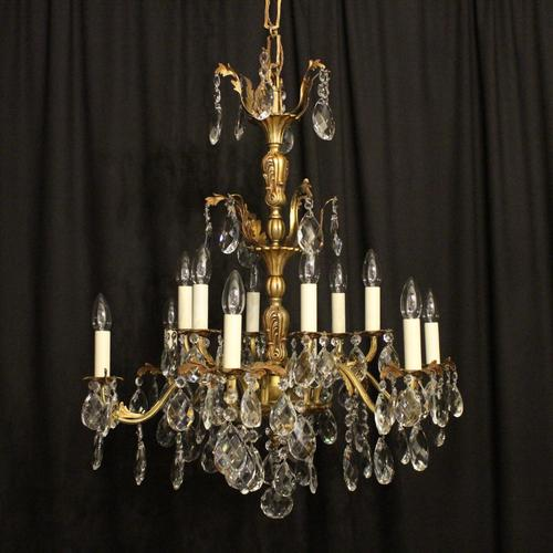 Italian Gilded Bronze & Crystal 12 Light Antique Chandelier (1 of 10)