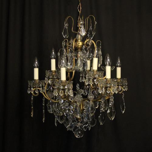 French Gilded & Crystal 10 Light Antique Chandelier (1 of 10)