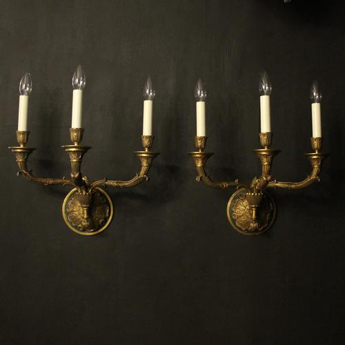 French Pair of Empire Antique Wall Lights (1 of 10)
