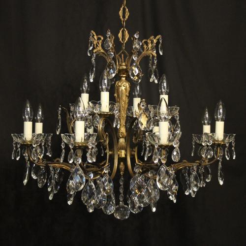 Italian Pair of 12 Light Antique Chandeliers (1 of 10)