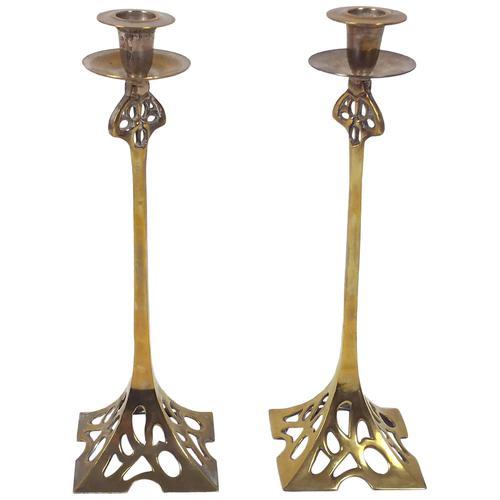 Pair of Art Nouveau 19th Century Brass Candlesticks (1 of 12)