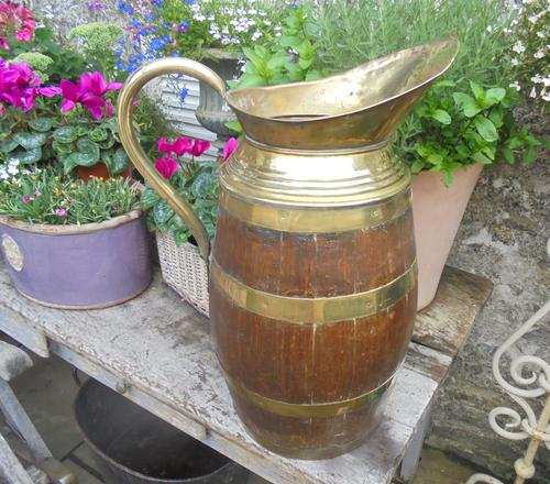 Large Brass Bound Wooden Jug (1 of 6)
