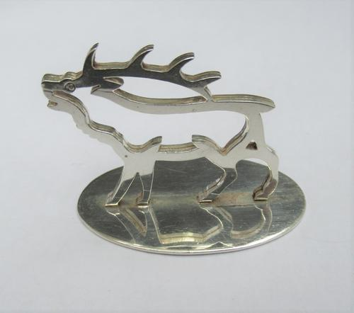 Sterling Silver George V Stag Menu or Place Card Holder, Hamilton & Inches, Edinburgh 1912 (1 of 6)