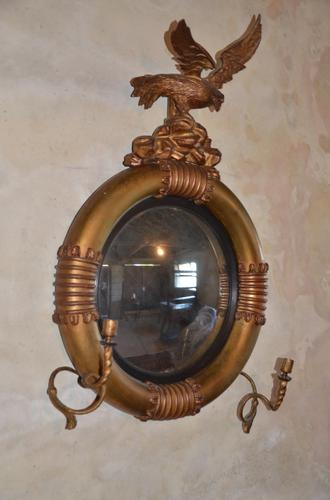 Rare Candled Arm Giltwood Convex Looking Glass (1 of 10)
